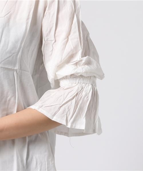 レディムード高まる★ボリューム袖![柄/無地]レーヨンVネックフレアスリーブブラウス[C2689]