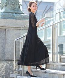 Primazel(プリマゼル)のレーススリーブマキシ丈ワンピースドレス(ドレス)
