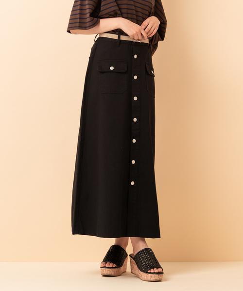 ポケットフレアロングスカート
