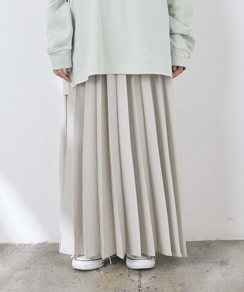 CRAFT STANDARD BOUTIQUE(クラフトスタンダードブティック)の「プリーツロングフレアスカート *◇(スカート)」|グレイッシュベージュ