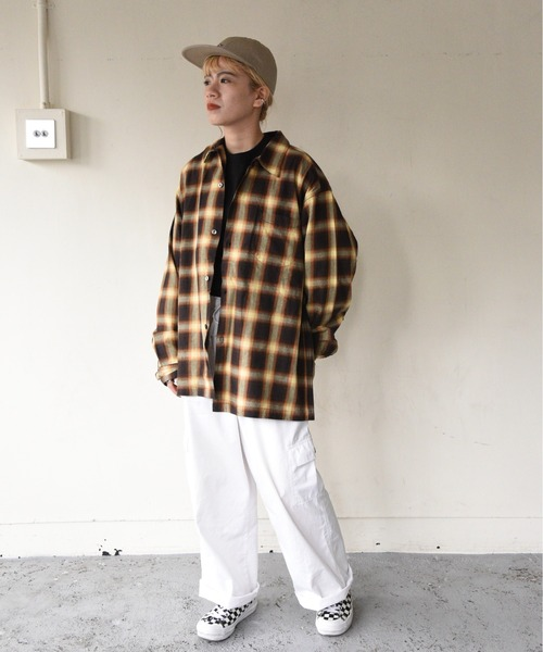 PENNEYS(ぺニーズ)の「PENNEY'S / ペニーズ OMBRE CHECK OPEN SHIRTS(シャツ/ブラウス)」 ブラウン系その他