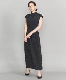 BY DRESS デシン×ドット シャーリングロングドレス