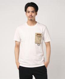 ロゴテープ シリコンロゴ プリントTシャツ ポケット付きアイボリー