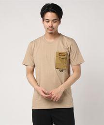 ロゴテープ シリコンロゴ プリントTシャツ ポケット付きベージュ