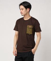 ロゴテープ シリコンロゴ プリントTシャツ ポケット付きブラウン