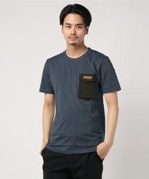 ロゴテープ シリコンロゴ プリントTシャツ ポケット付きチャコールグレー