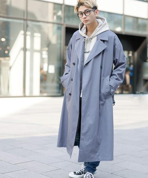 コットンツイル / オーバーサイズ マキシロング丈 トレンチコート スプリングコート