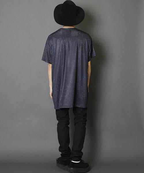 総柄グラフィック ビッグシルエットカットソー ビッグシルエットドロップショルダーTシャツ ビッグTシャツ
