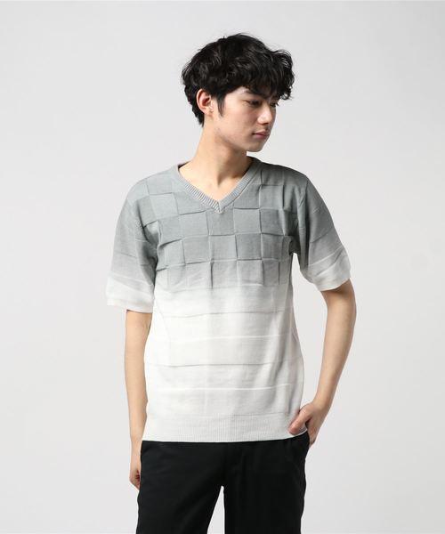 ブロックチェックグラデーションデザインVネック半袖ニット(SS)
