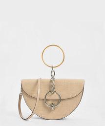 CHARLES & KEITH(チャールズ & キース)のクロックエフェクト ハーフムーンメタルリングハンドルバッグ / Croc-Effect Half Moon Metal Ring Handle Bag(ハンドバッグ)