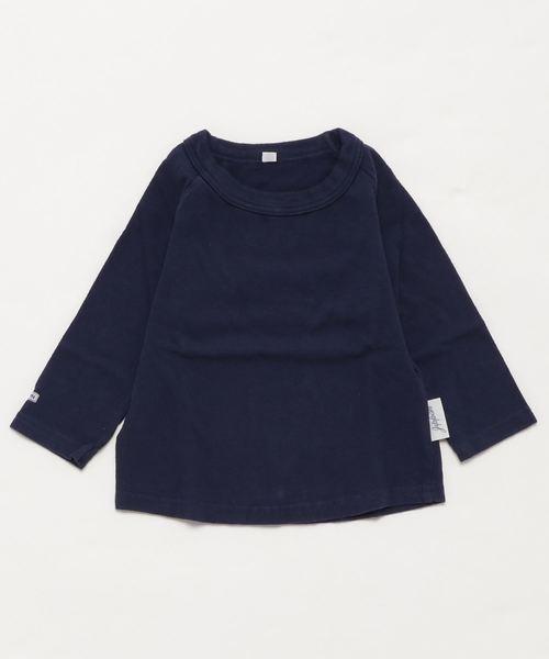 JIPPON(ジポン)の「ムジラグランロンT (rib−80〜140cm)(Tシャツ/カットソー)」|ネイビー
