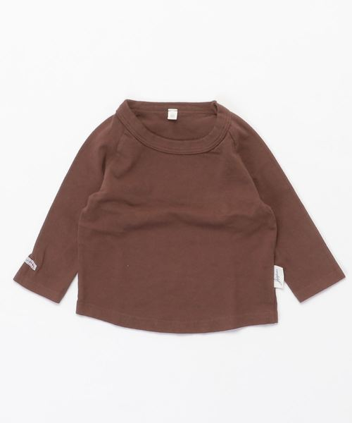 JIPPON(ジポン)の「ムジラグランロンT (rib−80〜140cm)(Tシャツ/カットソー)」|ブラウン