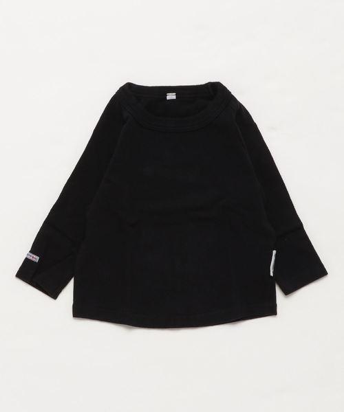 JIPPON(ジポン)の「ムジラグランロンT (rib−80〜140cm)(Tシャツ/カットソー)」 ブラック
