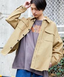 【ユニセックスで着用可能!】ツイル コーデュロイ CPOシャツ/オーバーサイズシャツ/シャツジャケット/セットアップ可ベージュ