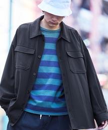 【ユニセックスで着用可能!】ツイル コーデュロイ CPOシャツ/オーバーサイズシャツ/シャツジャケット/セットアップ可ブラック系その他