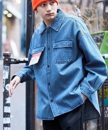 【ユニセックスで着用可能!】ツイル コーデュロイ CPOシャツ/オーバーサイズシャツ/シャツジャケット/セットアップ可ライトインディゴブルー