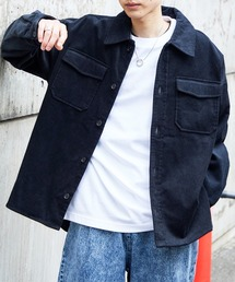 【ユニセックスで着用可能!】ツイル コーデュロイ CPOシャツ/オーバーサイズシャツ/シャツジャケット/セットアップ可ネイビー