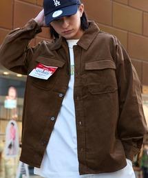 【ユニセックスで着用可能!】ツイル コーデュロイ CPOシャツ/オーバーサイズシャツ/シャツジャケット/セットアップ可ブラウン