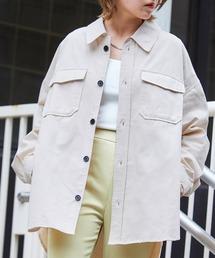 【ユニセックスで着用可能!】ツイル コーデュロイ CPOシャツ/オーバーサイズシャツ/シャツジャケット/セットアップ可オフホワイト