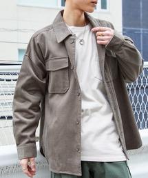 【ユニセックスで着用可能!】ツイル コーデュロイ CPOシャツ/オーバーサイズシャツ/シャツジャケット/セットアップ可グレイッシュベージュ