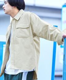 【ユニセックスで着用可能!】ツイル コーデュロイ CPOシャツ/オーバーサイズシャツ/シャツジャケット/セットアップ可アイボリー