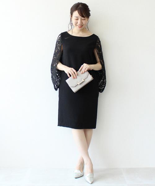 【結婚式 ワンピース/ドレス/二次会】バックレースブラウジングワンピース