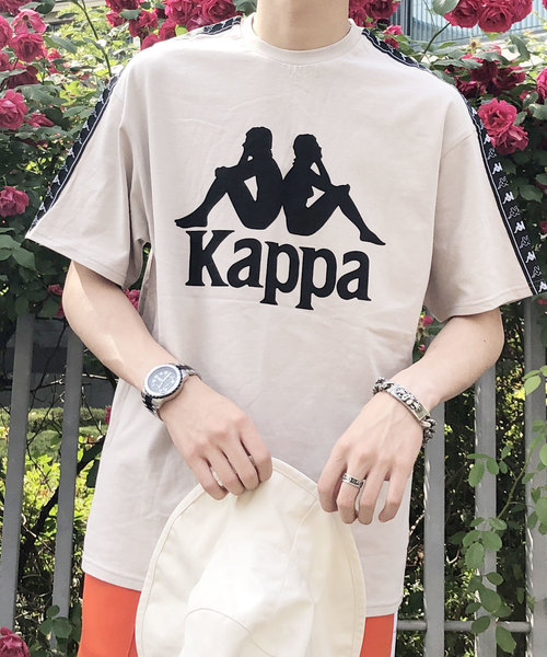 【BASQUE -enthusiastic design-】Kappa/カッパ スーパービッグシルエット 袖ロゴライン 1/2スリーブカットソー