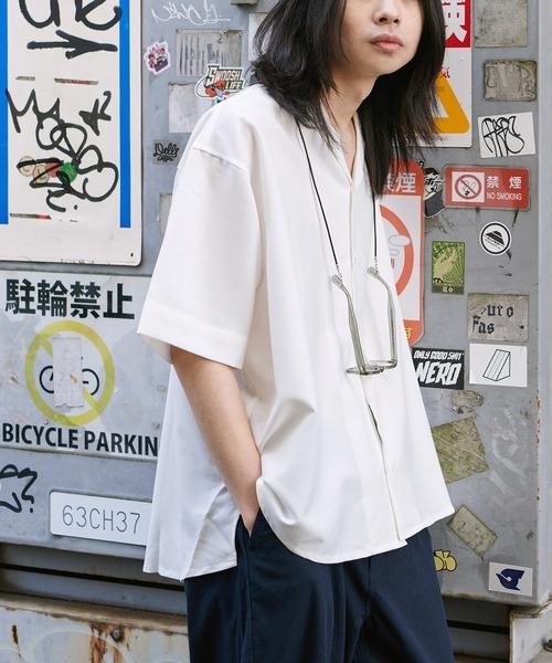 【BASQUE -enthusiastic design-】チャーム付き ビッグシルエット オープンカラーシャツ