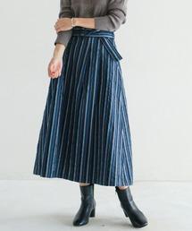 NOMBRE IMPAIR(ノンブルアンペール)の【Fabric in Italy】ストライプJQベルト付きスカート(スカート)