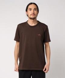 ドライ機能付き ワンポイント刺繍Tシャツ 速乾性ブラウン