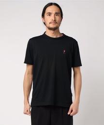 ドライ機能付き ワンポイント刺繍Tシャツ 速乾性ブラック