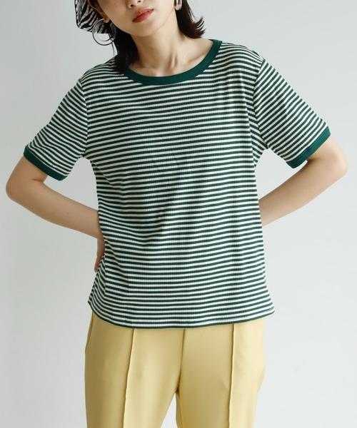 Birthday room(バースデイルーム)の「リンガーボーダーTシャツ(Tシャツ/カットソー)」 グリーン