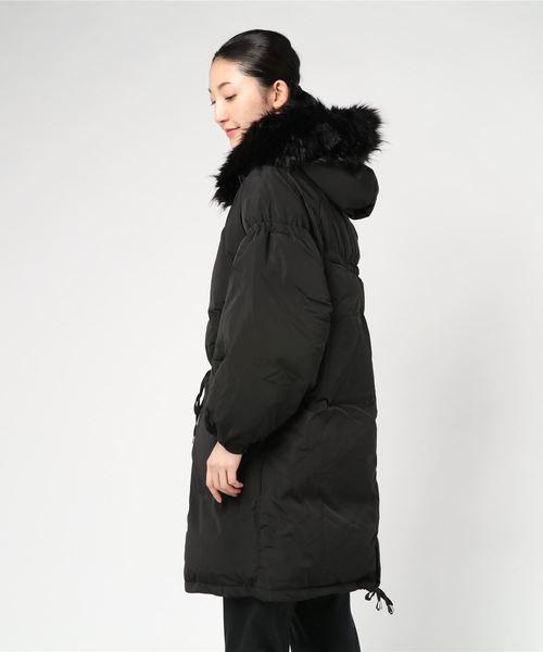 ファー付き中綿ロングコート
