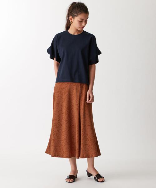 【EMMEL REFINES】〔ハンドウォッシャブル〕SMF HWランダムドットプリント セミフレアスカート