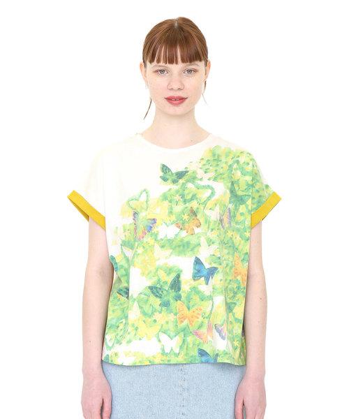バックボタンラウンドネックTシャツ/バタフライインザグリーン