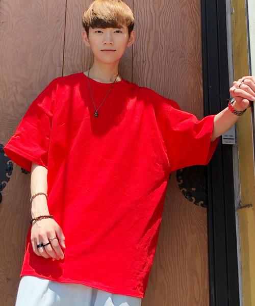 【BASQUE -enthusiastic design-】ギルダン ビッグシルエット USAオーバーサイズ 1/2スリーブTシャツ BASQUE