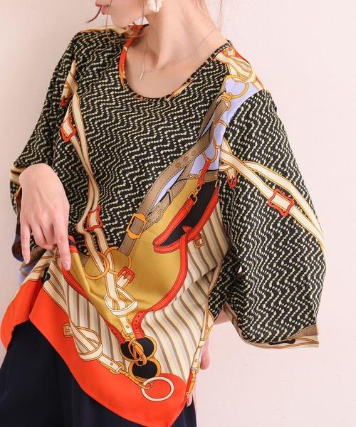 Sawa a la mode(サワアラモード)の「スカーフ柄美しいナチュラルトップス(Tシャツ/カットソー)」|イエロー