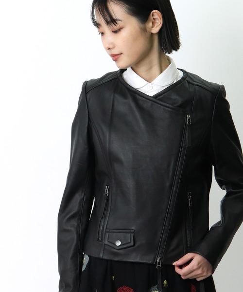 【 LUGIVA / ルギヴァ 】ラムレザー丸首ライダースジャケット 301502 HAZ