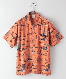 レーヨンアロハ レーヨン素材 オープンカラー(開襟) アロハシャツオレンジ