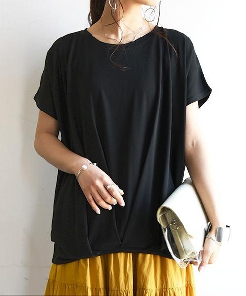 and it_(アンドイット)の「裾タックワイドプルオーバー(Tシャツ/カットソー)」 ブラック