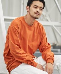 ギルダン ビッグシルエット USAオーバーサイズ ロングスリーブTシャツオレンジ系その他
