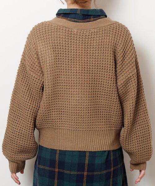 ワッフル編みカーディガン