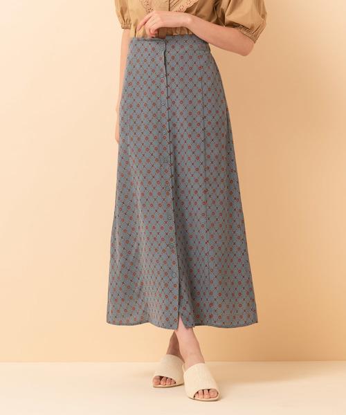 フロント・ボタンマーメイド柄スカート