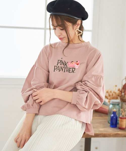 【Pink Panther×ADOLESCENCEコラボ】ピンクパンサー別注 プリント 袖タックボリューム ドロップショルダーカットソー【ZOZOTOWN限定アイテム】