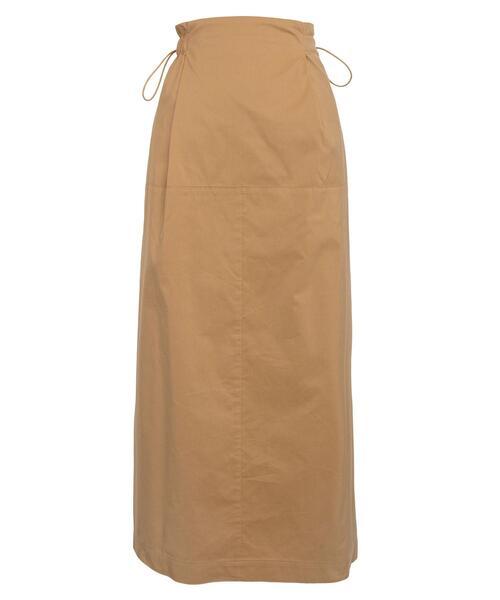 Drawer コットンシルクタフタバックギャザースカート