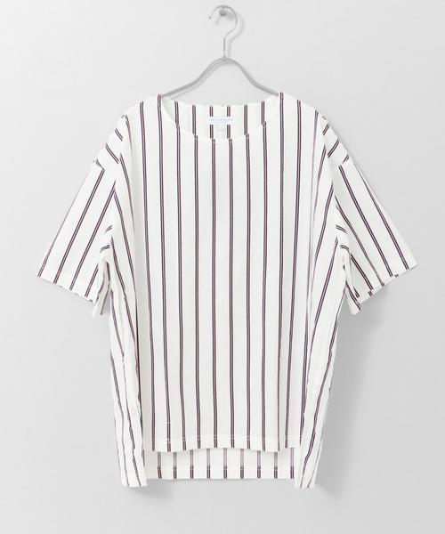サテンストライプシャツTシャツ