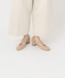 <Mezzan×Steven Alan>LEATHER CROSS STRAP PUMPS BEIGE/パンプス