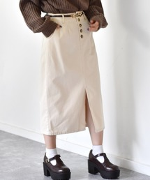細ベルト付ナロースカートオフホワイト