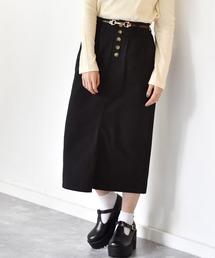 細ベルト付ナロースカートブラック