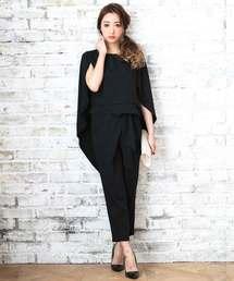 DRESS LAB(ドレスラボ)のケープ風セットアップパンツドレス【2点セット】(ドレス)